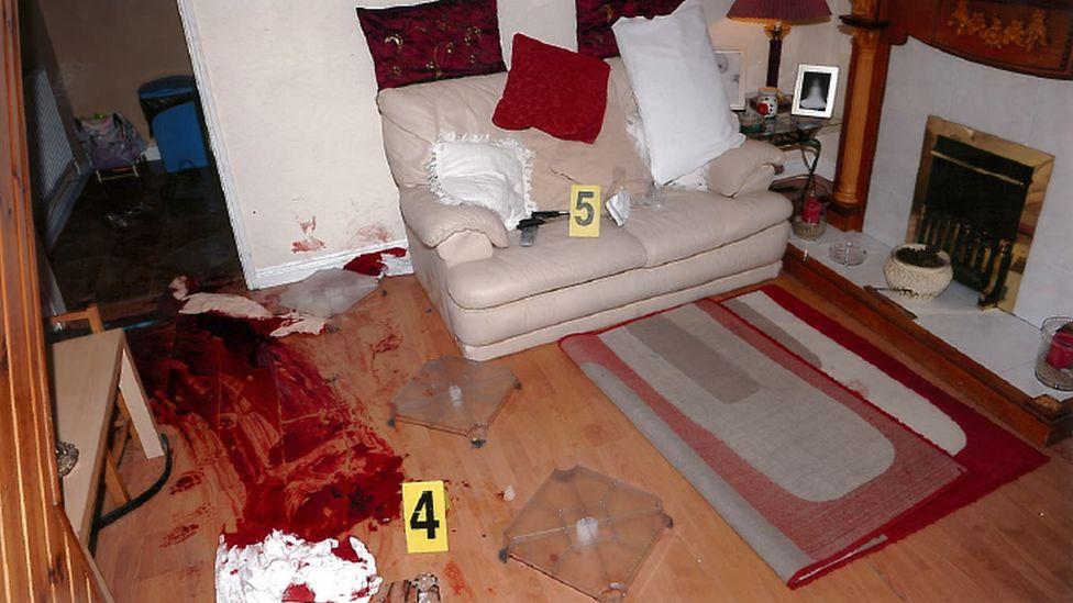 Following the sentencing, police released a photo of the heavily bloodstained scene of the shooting