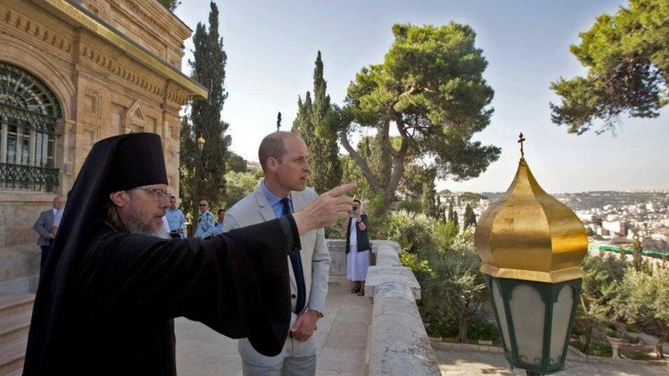The Duke of Cambridge with Archimandrite Roman, Father Roman head of the Russian Ecclesiastical Mission in Jerusalem