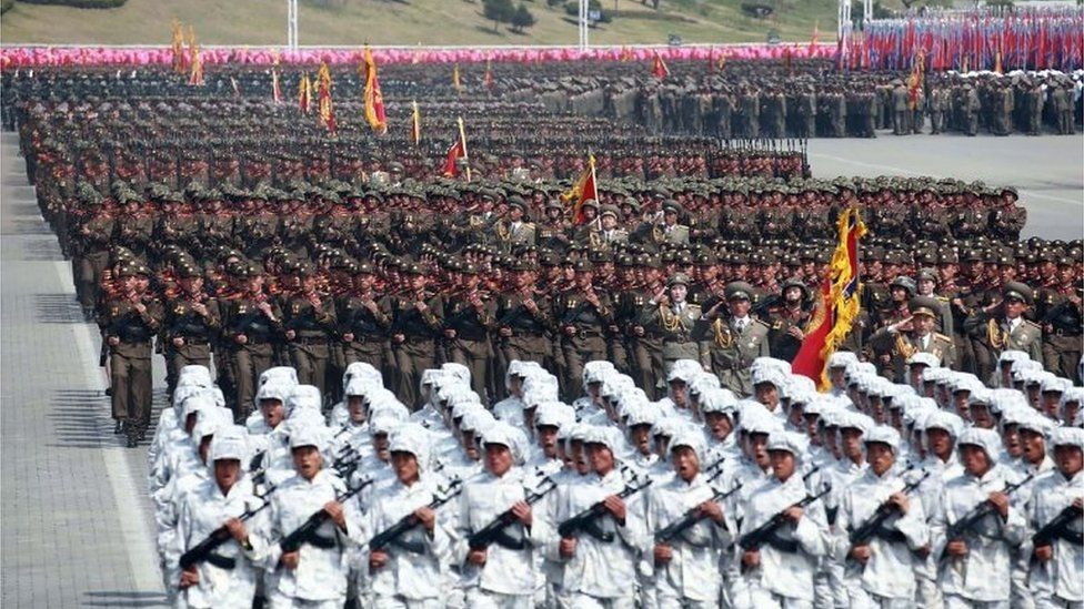 "This April 15, 2017 picture released from North Korea""s official Korean Central News Agency (KCNA) on April 16, 2017 shows Korean People""s Army (KPA) soldiers marching through Kim Il-Sung square during a military parade in Pyongyang marking the 105th anniversary of the birth of late North Korean leader Kim Il-Sung"