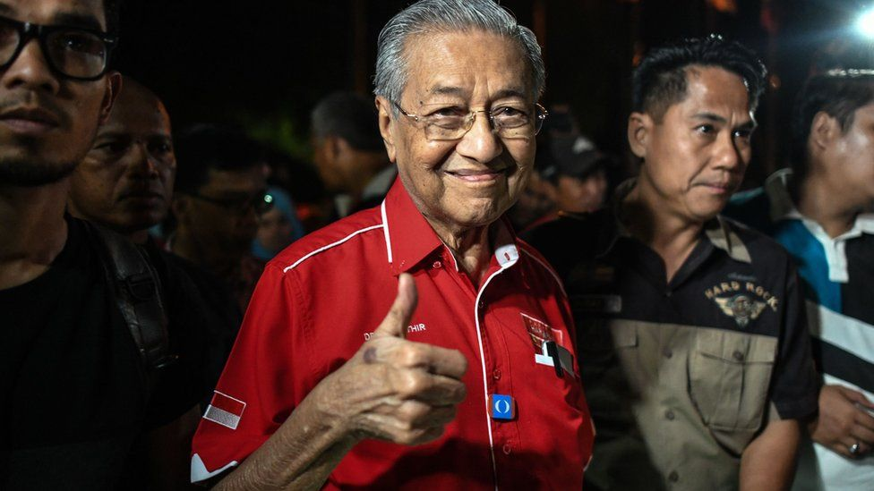 Dr Mahathir Mohamad showing a thumbs up