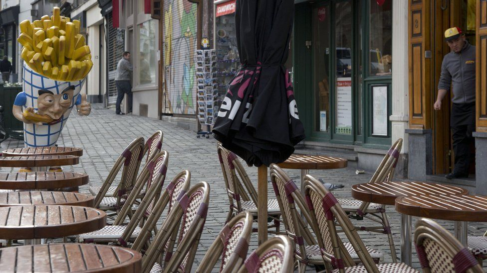 An empty cafe in Brussels, under lockdown after the Paris attacks
