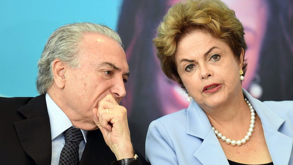 Michel Temer and Dilma Rousseff pictured before the impeachment, when he was vice president and she was president