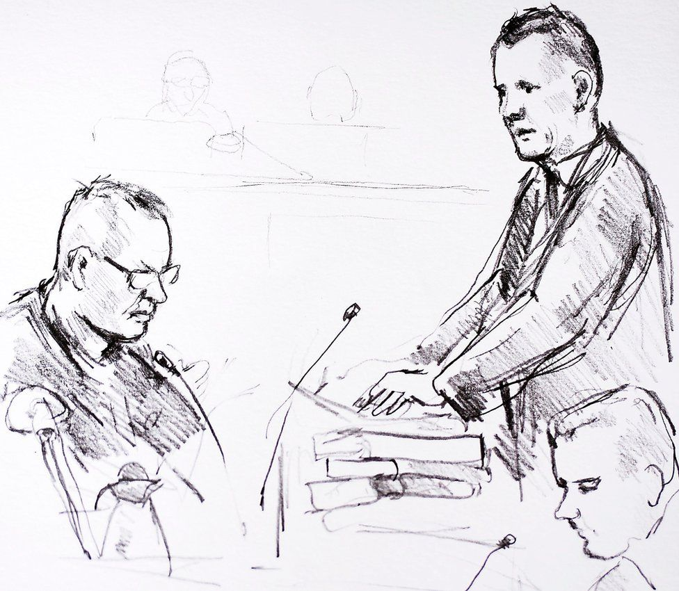 Court drawing by Anne Gyrite Schuett made available by Danish news agency Ritzau Scanpix on 8 March 2018 shows accused Peter Madsen on the first day of the trial