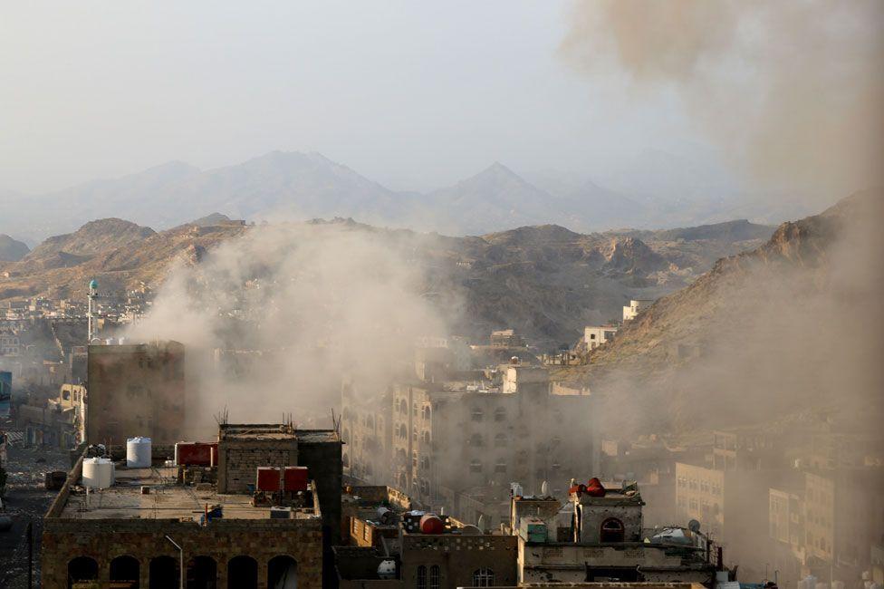 Smoke on outskirts of Taiz - November 2015