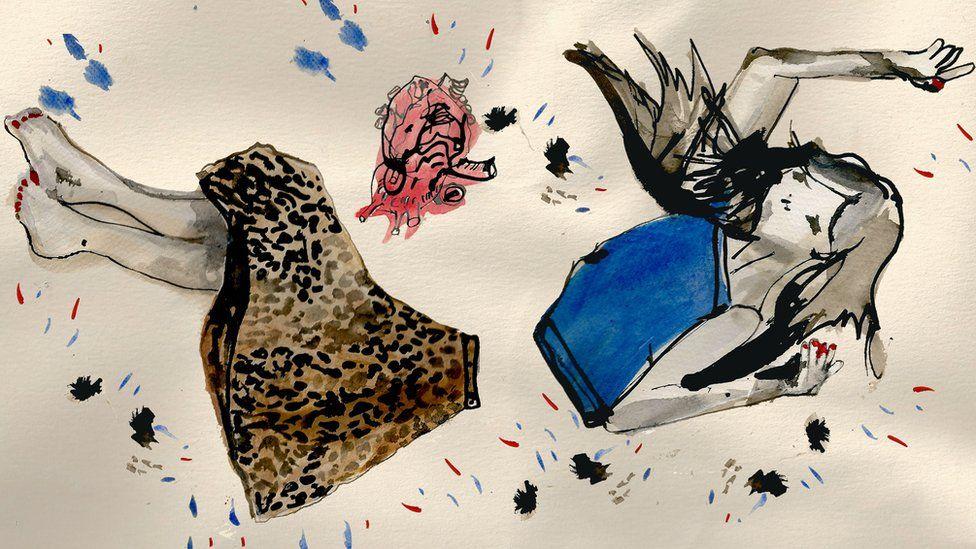 Illustration of a girl's body being spilt apart