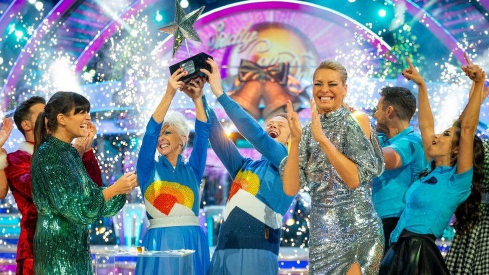 """Debbie McGee and Kevin Clifton celebrate after winning this year""""s BBC1""""s Strictly Come Dancing Christmas special"""