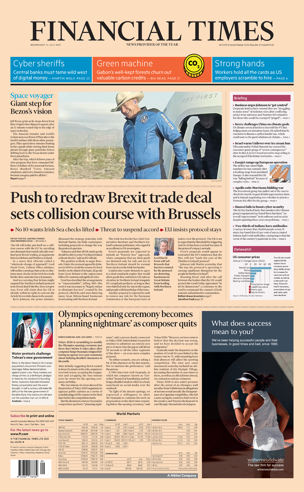 Financial Times front page 21/07/21