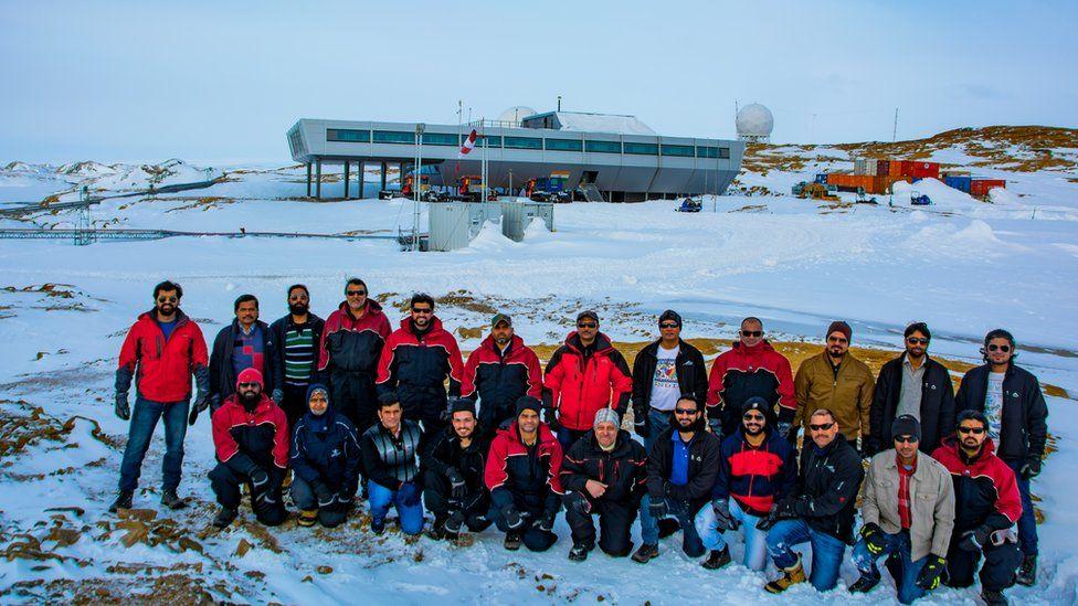 Team photo in Antarctica