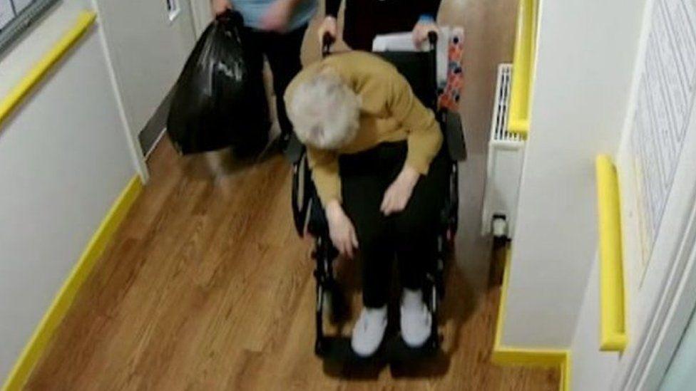Peggy Copeman in a wheelchair