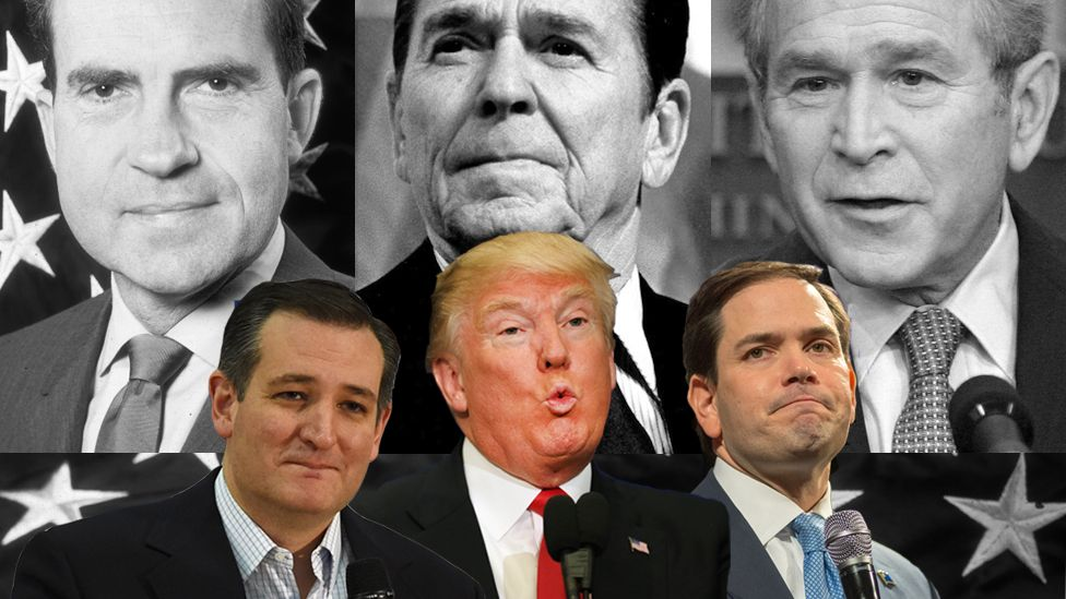 Composite of Ted Cruz, Donald Trump and Marco Rubio imposed ontop of previous Republican US presidents