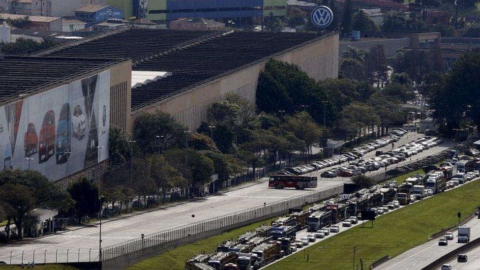 A view of the Volkswagen plant in Sao Bernardo do Campo, Brazil, July 13, 2015.