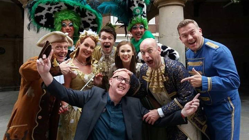 Kevin Langford with the cast of Cinderella in Shrewsbury in 2016