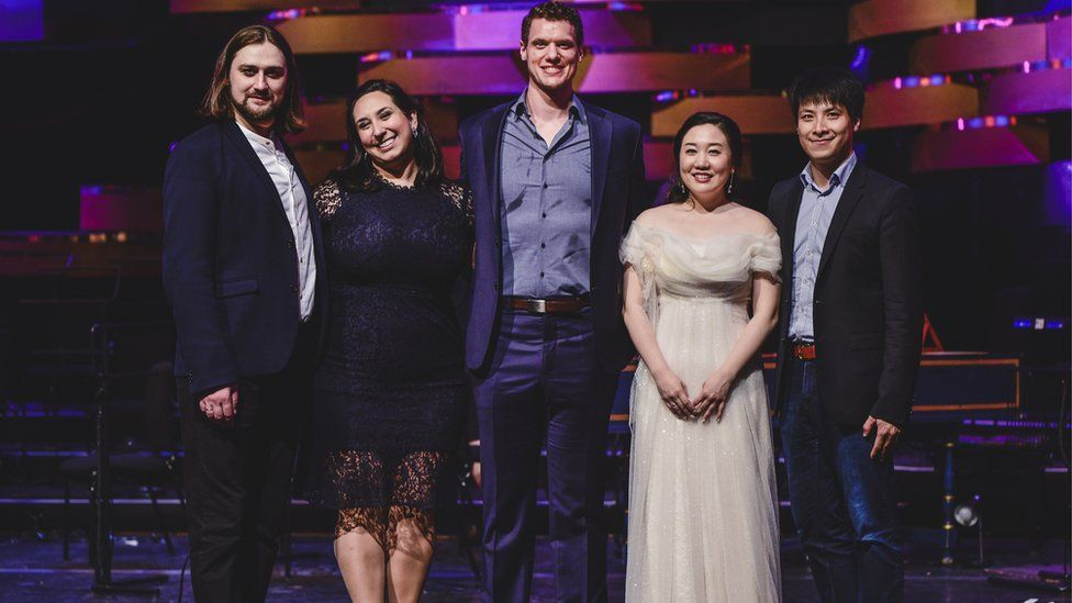The finalists (L-R) were Andrei Kymach, Guadalupe Barrientos, Patrick Guetti, Sooyeon Lee and Mingjie Lei. Picture: Kirsten McTernan