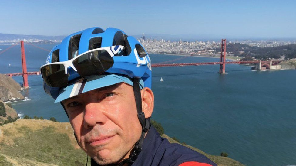Mark Madeo gets a break from shelter-in-place orders with bike rides near his home in San Francisco