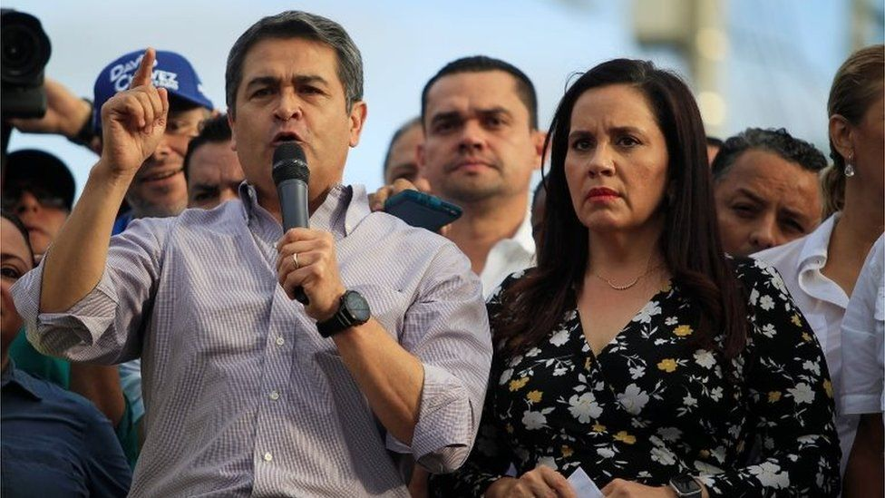 President Juan Orlando Hernandez spoke to his supporters at a rally to defend himself against allegations of using drug proceeds for his presidential campaign