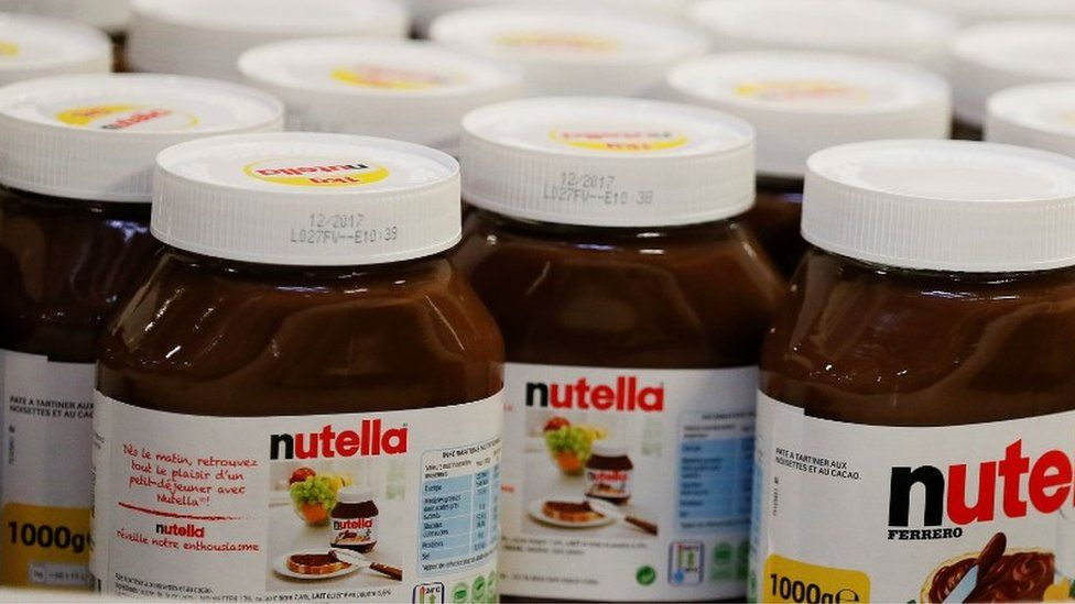 Jars of Nutella at a French supermarket