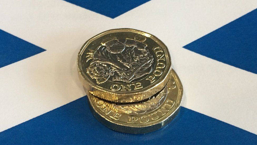 pound coins on a Saltire