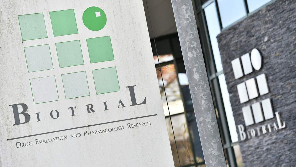 A picture taken on January 16, 2016, in Rennes, western France, shows the logo of the Biotrial laboratory