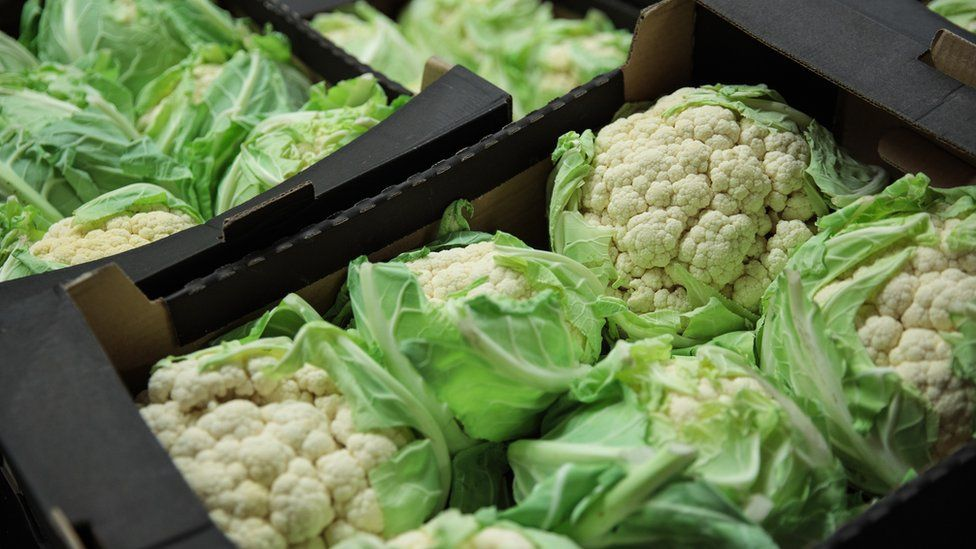 Boxes of cauliflowers ready to be sold at a market