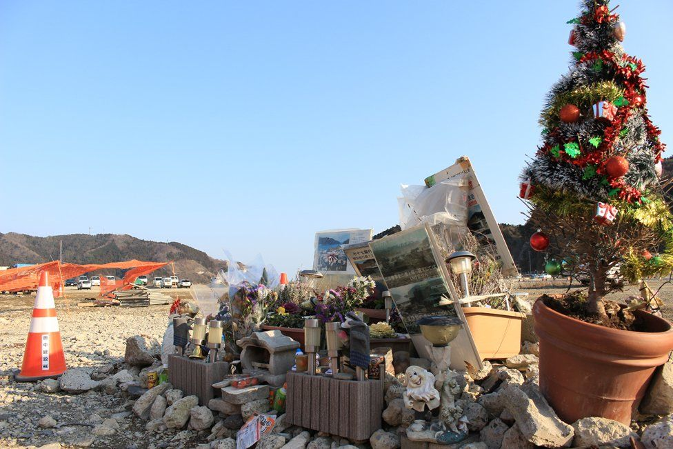 The shrine to 77 Bank employees in Onagawa