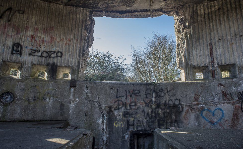 Inside one of the old gun emplacements