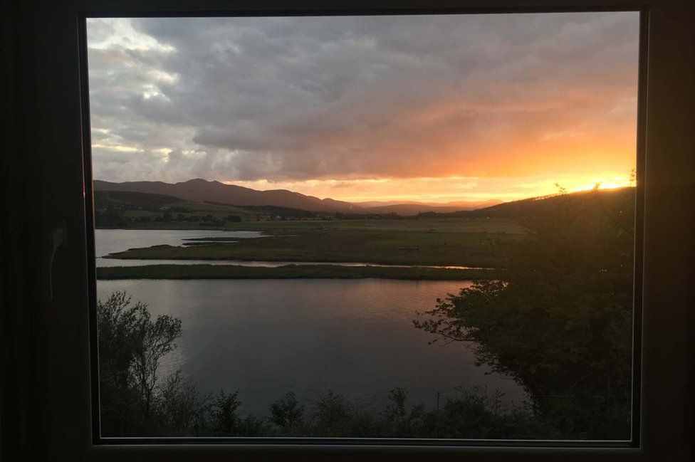 The bathroom window give a view of the Kyle of Sutherland