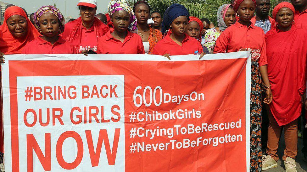 BringBackOurGirls campaigners in Abuja, Nigeria - January 2016