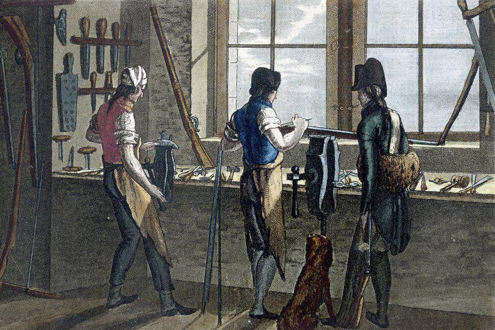 Gun makers in their workshop