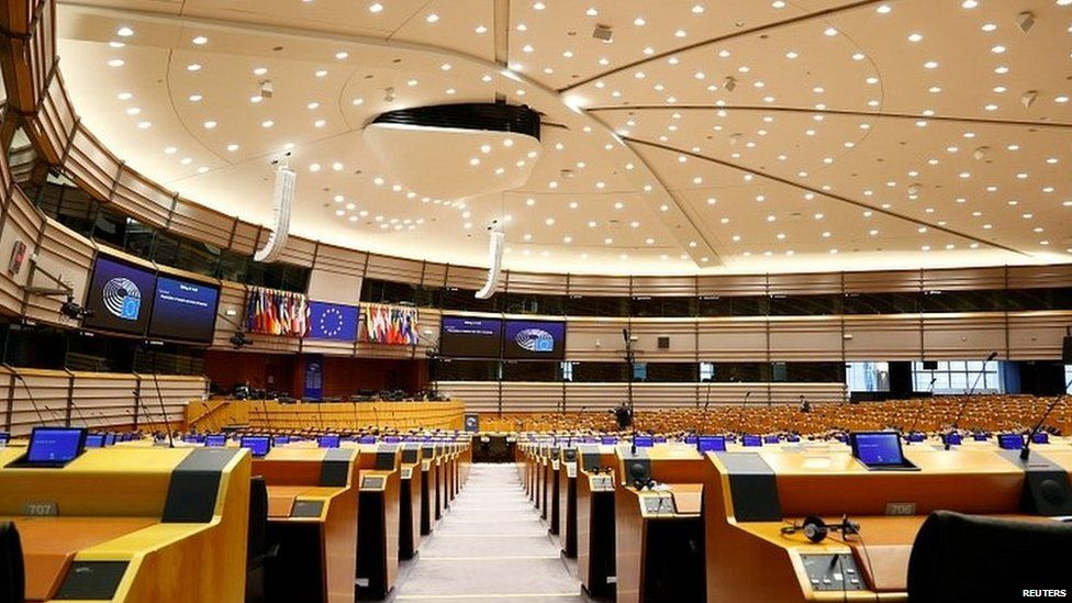 Chamber of the European Parliament in Brussels