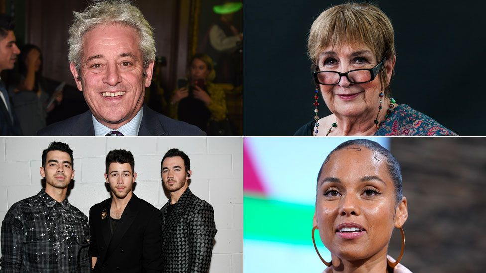 Clockwise: John Bercow, Dame Jenni Murray, Alicia Keys, Jonas Brothers
