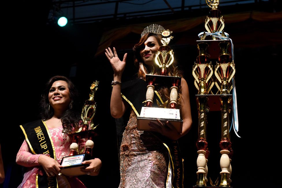 Winning contestants at Miss Waria Indonesia