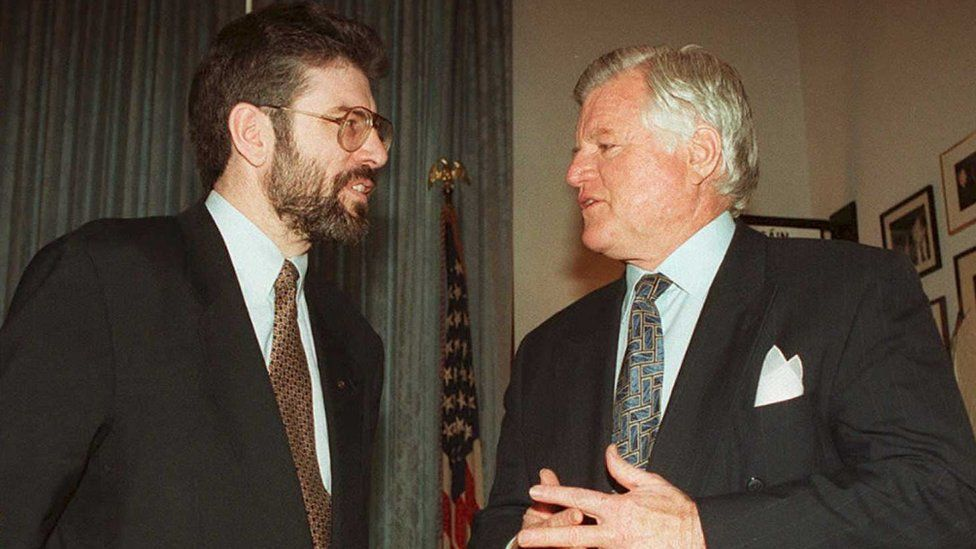 Gerry Adams and Ted Kennedy in Washington DC in 1995