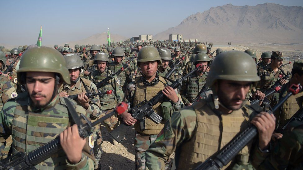 A long line of Afghan national army soldiers