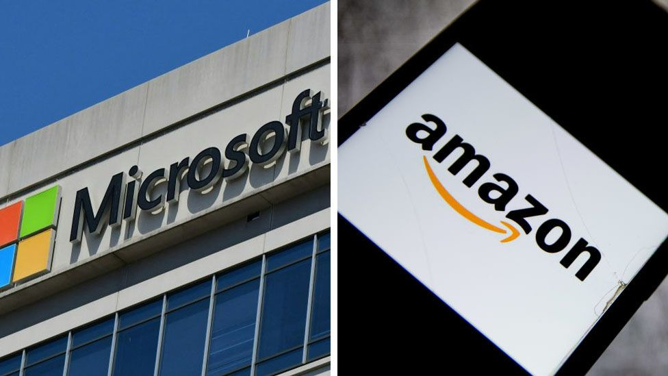 Microsoft and Amazon logos