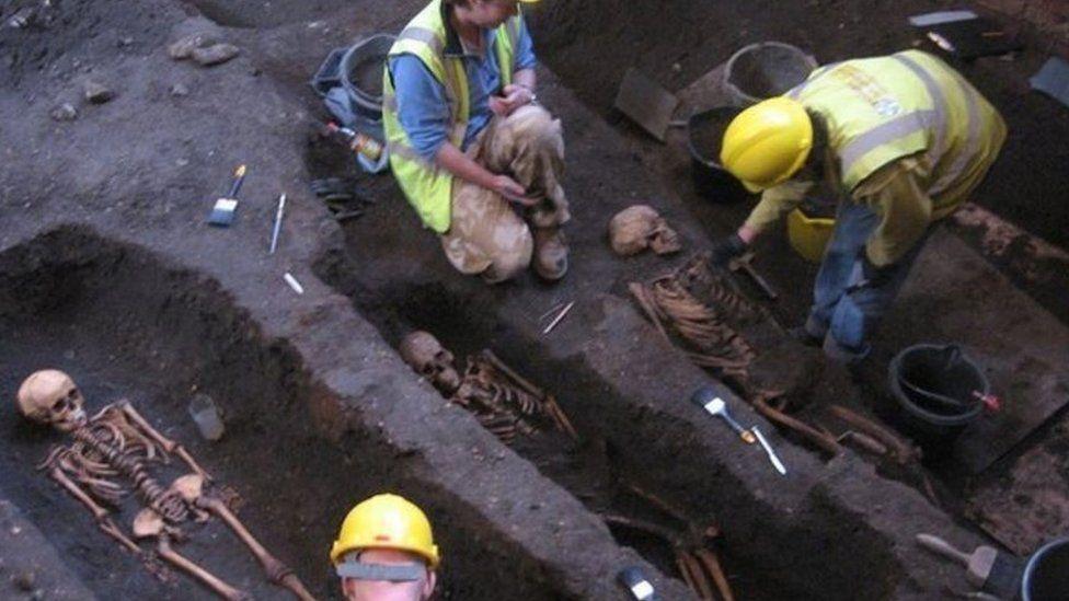 Skeletons during dig at St John's College, Cambridge