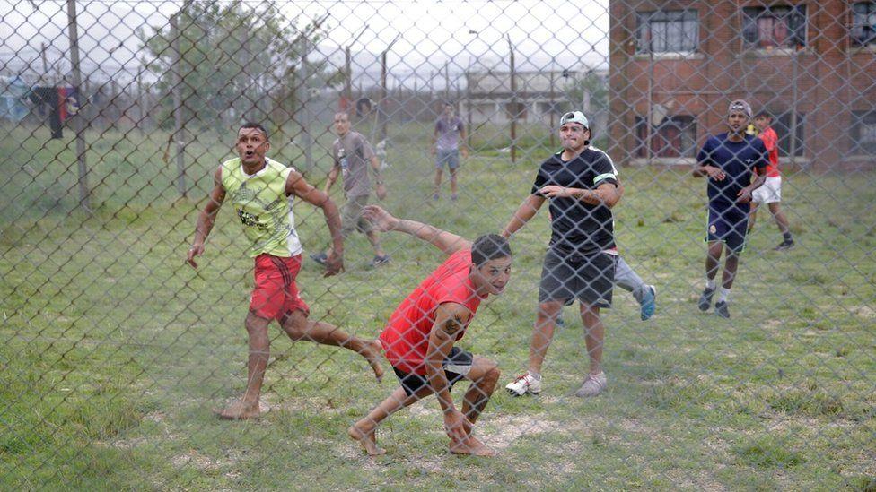 Inmates playing football