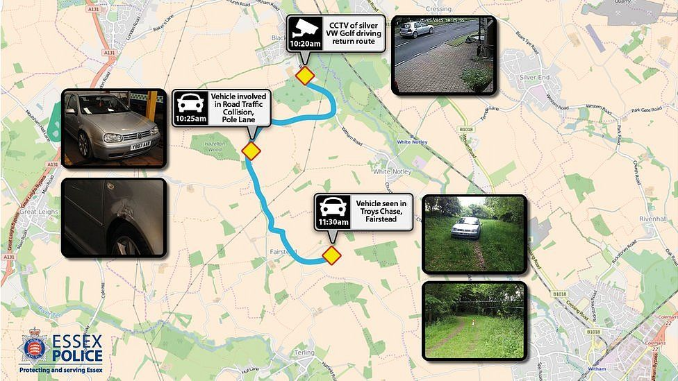 Essex Police map of known movements of Chris May