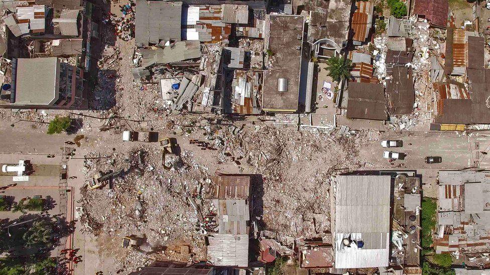 "Aerial view of Pedernales, one of Ecuador""s worst-hit towns, taken on April 19, 2016"