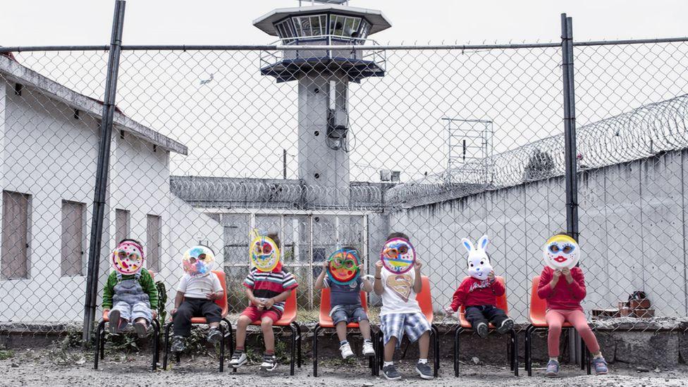 Children living inside Santa Martha Acatitla penitentiary, Mexico
