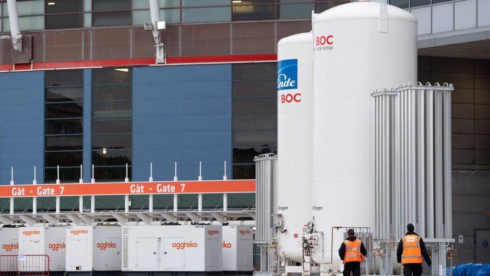 Oxygen tanks outside the stadium