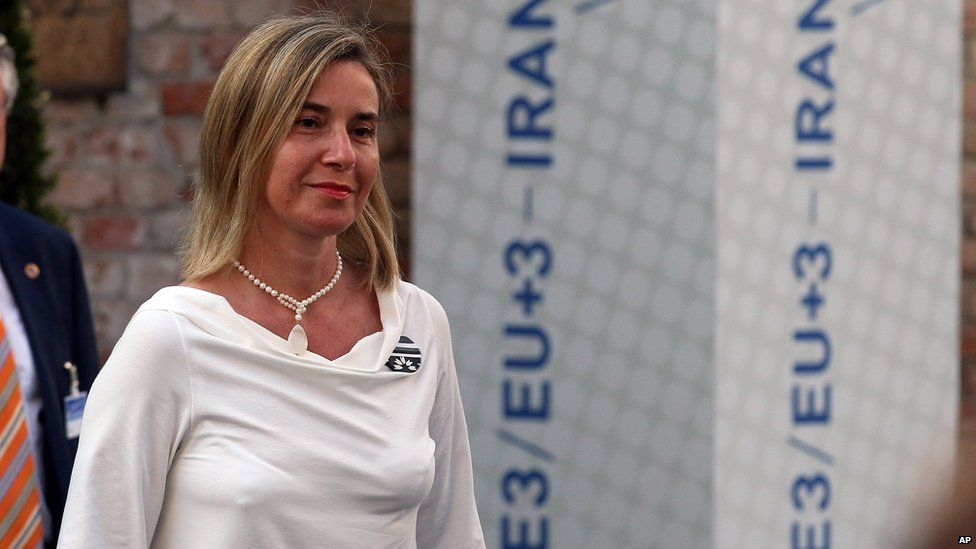 Federica Mogherini arrives at the Palais Coburg for the nuclear talks with Iran in Vienna, Austria, 5 July 2015
