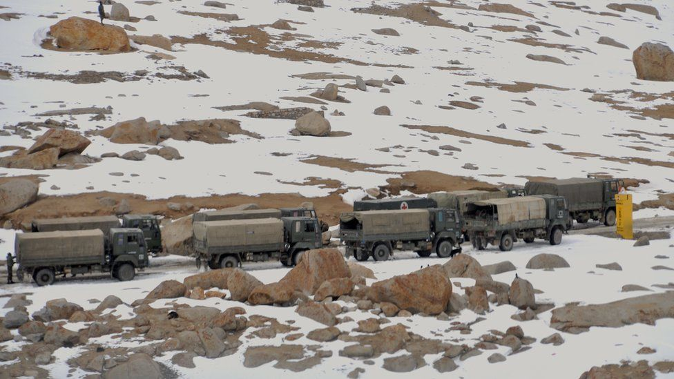 A convoy of Indian trucks
