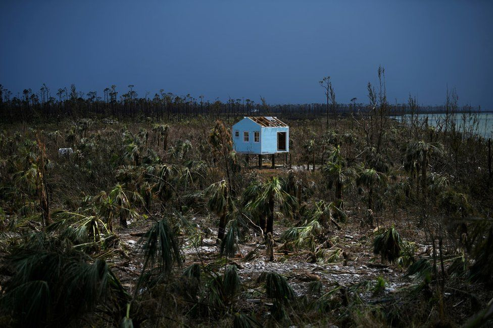 A destroyed house is seen in the wake of Hurricane Dorian in Marsh Harbour, Great Abaco, Bahamas, 8 September 2019.