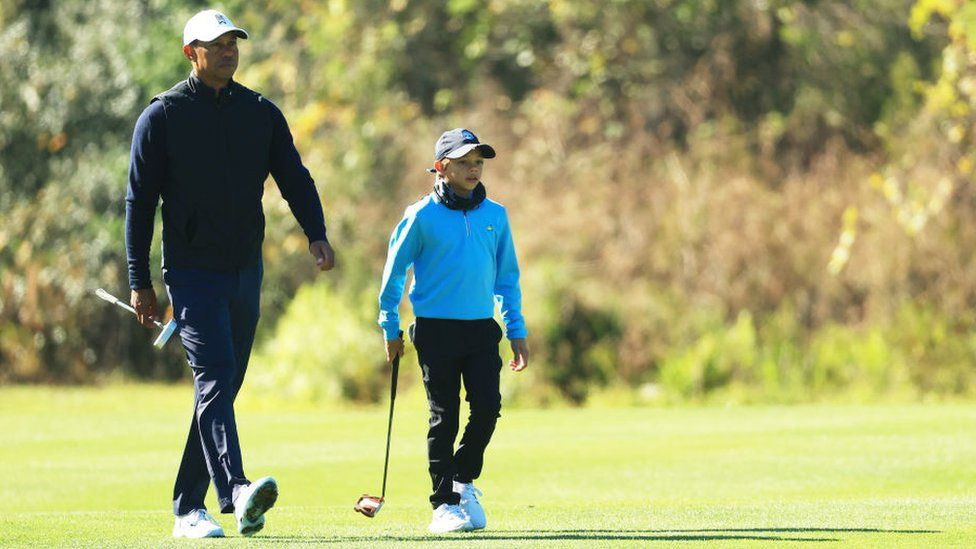 Tiger Woods with his won Charlie in Orlando, Florida, on 18 December 2020
