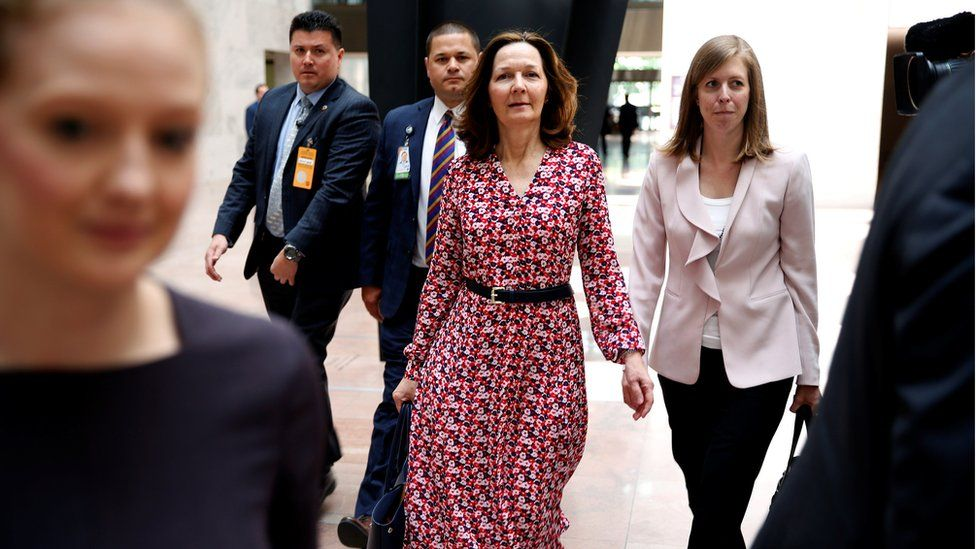 Nominee to be Director of the Central Intelligence Agency Gina Haspel arrives for meetings with senators on Capitol Hill in Washington, DC.