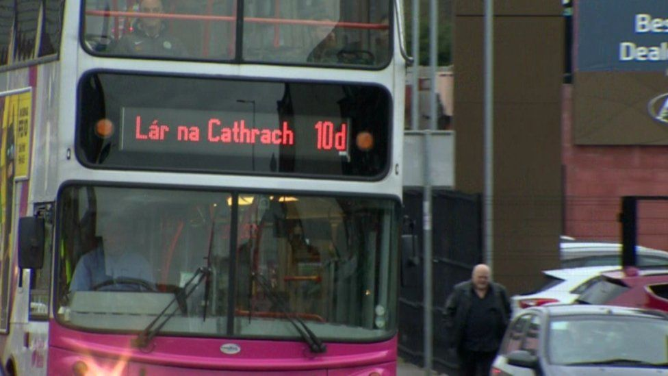 Bus with sign in Irish