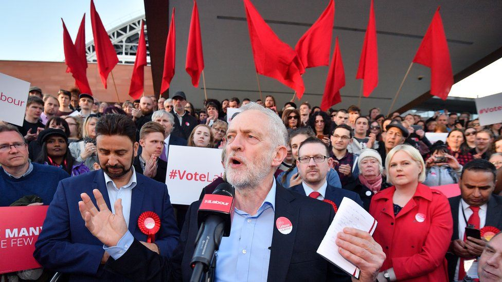 Jeremy Corbyn speaks during a Momentum rally in Manchester in May 2017
