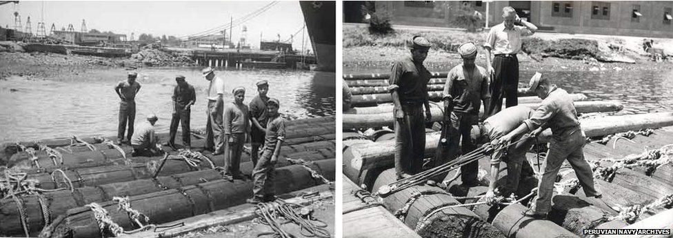 Building of Thor Heyerdhal's raft in Peru, 1947