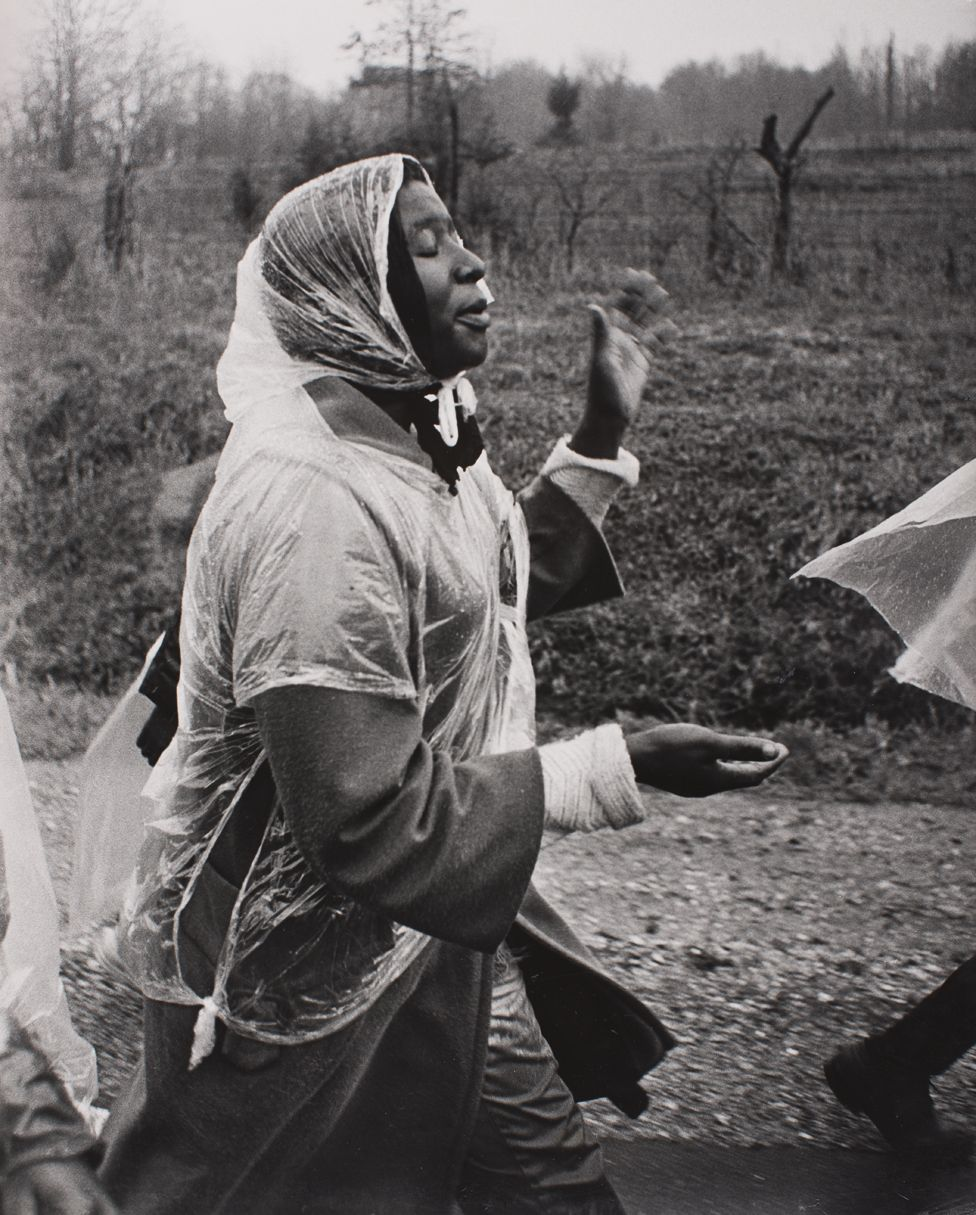 Woman singing on one of the Selma to Montgomery marches