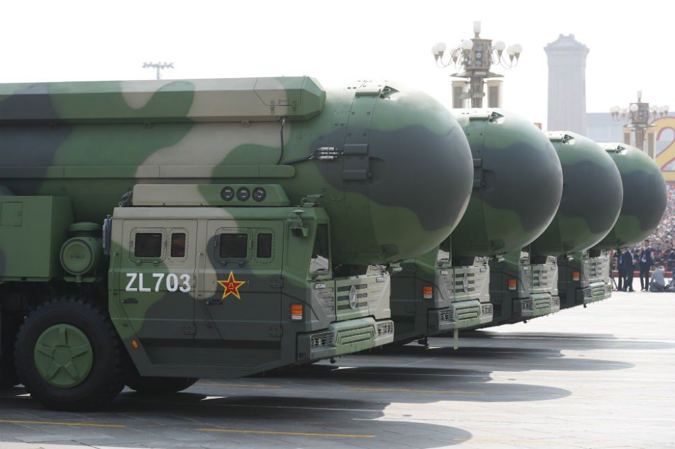 Military vehicles carrying the DF-41 intercontinental ballistic missile roll through Tiananmen Square in Beijing during a military parade marking the 70th anniversary of the founding of the People's Republic of China, on 1 October 2019.